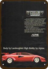 1981 ALPINE CAR STEREO Vintage Look REPLICA METAL SIGN - LAMBORGHINI Sports Car