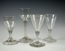 4 Early Free Blown Flint Glass Wine Stems 18th/19th Century