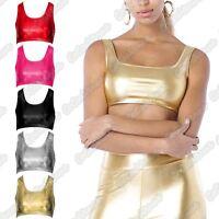New Ladies Wetlook Shiny Metallic Gymnastic Dance Party Wear Vest Racer Crop Top
