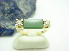 Jade Brillant Ring 585 Gold Gr 51 0,40ct Steinring Goldring