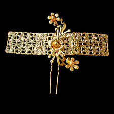 Exquisite Carved Lacy Golden Flowers Long Band Hair Pin