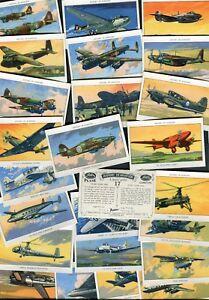"AMALGAMATED TOBACCO 1952 PART SET OF 25/50 ""HISTORY OF AVIATION"" CIGARETTE CARDS"