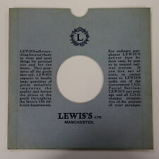 """78rpm 10"""" card gramophone record sleeve / cover LEWIS`S , MANCHESTER"""