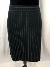 George by Mark Eisen Women Sze 12 Black Lined Pin Stripe Pencil Skirt Pleat Kick