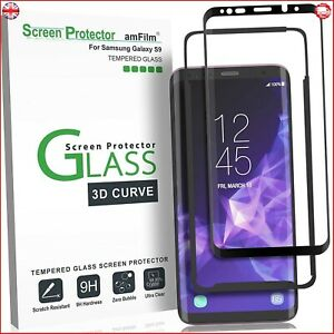 Galaxy S9 Screen Protector Glass, amFilm Full Cover (3D Curved) Tempered Glass S