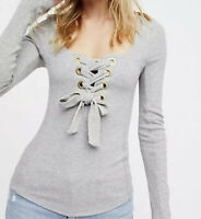 Free People Small Top Gray Looking Back Lace Up Shirt Long Sleeve Blouse 4 6