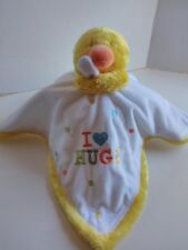 Carters OS Duck Security Blanket Lovey I Heart Hugs White Yellow 16 x 16 inches