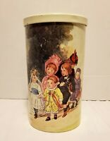 MASSILLY FRANCE Vintage Victorian Childrens Wedding Scene Cylinder Tin Canister