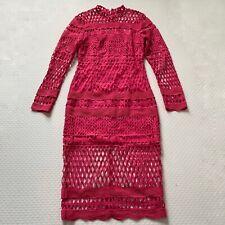 Danity Paris Midi Pink Crochet long sleeve dress. Size M