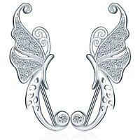 Schmetterling Damen Ohrklemme 925 Sterling Silber Zirkonia Ohrringe Ohrstecker