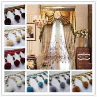 Curtain 1M Trim Plush Ball Beaded Fringe Costume Upholstery Crafts