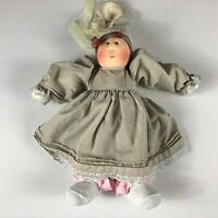 "Little Souls Plush Doll VTG 1989 Knit Hat Ribbon Dress Girl USA Made 15"" Stuffed"