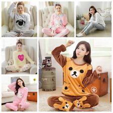 Women Girl Ladies Winter Long Sleeve Velvet Fleece Pajamas Set Pyjamas Sleepwear