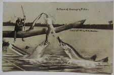 Postcard, Real Photo, exaggeration, large fish eating man's leg, Martin photo