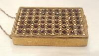 Antique French Signed Highly Jeweled Compact Dance Purse w/ chain