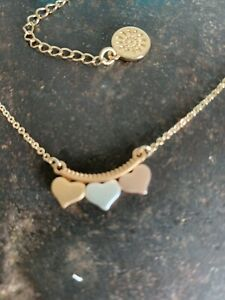 POM Boutique Silver Plated Rose Gold & Gold Triple Hearts Necklace
