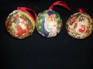 Vintage x3 PAPER MACHE DECOUPAGE  Christmas Tree decorations baubles retro