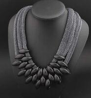 Fashion Jewelry Crystal Chunky Statement Bib Pendant Chain Choker Necklace
