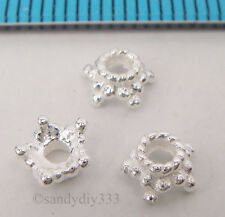 6x BRIGHT STERLING SILVER STAR ROPE DAISY BEAD CAP 5.6mm SPACER N858