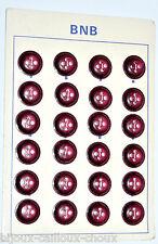 PLAQUE de mercerie complète 24 BOUTONS vintages plastique rouge foncé 17mm