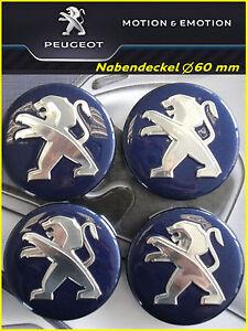 Nabendeckel, Felgendeckel, Logo Peugeot, Peugeot Löwe, Durchmesser 60 mm