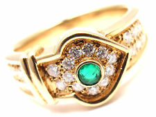 Rare! Authentic Christian Dior 18k Yellow Gold Diamond Emerald Ring