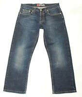 Men's Vintage FRANK Q Button Fly Stretch Faded Straight Blue Denim Jeans W32 L26