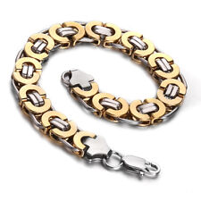 MENDINO Men's 316l Stainless Steel Bracelet Flat Byzantine Chain Gold Tone 11mm