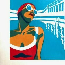 Vintage Art Deco A3 Poster Penzance Lido 1920s Seaside Swimming Pool Retro