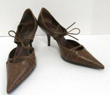 SERGIO ROSSI Womans brown leather strappy D'Orsay heel shoe size 38
