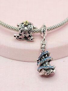 2 Disney Cinderella Coach & Princess Charms Bundle For European Charm Bracelets