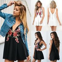 Women's Summer Casual Floral Sleeveless Evening Party Cocktail Short Mini Dress