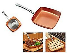 "AS SEEN ON TV COPPER CHEF (9.5) 9 1/2"" DEEP DISH SQUARE PAN/POT SET CERAMI-TECH"