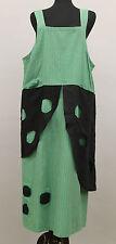 PRISA PLUS COTTON PINSTRIPE PATCHED HOLEY JUMPER DRESS GRN BLK Sz 1 US 16 $249