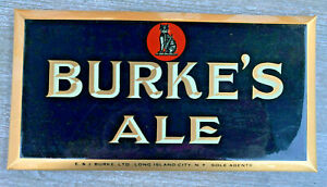 Clean! 1940's Burke's Ale *Long Island City, NY* Tin-Over-Cardboard Small Sign
