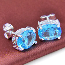 Amzing rectangle Style Ocean Blue Topaz Gemstone Silver Stud Earrings 1/2 Inch