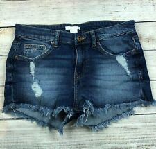 H&M Distressed Denim Jean Bootie Shorts Size 4 Frayed Hems Stretch Cut Offs F7