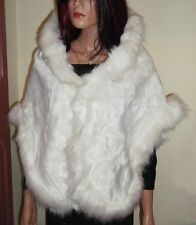Luxury Ivory Fur Stole / Cape.  Plush Ivory Short Fur Trimmed with Long Faux Fur
