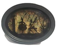 Vintage Silhouettes Reverse Painted On Glass Oval Wall Decor Hanging