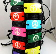 wholesale Lots 12 X leather peace world wristband men women bracelets