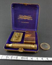 Maquinilla de afeitar Gillette Tuckaway oro en caja original, hoja de afeitar de U.S.A. conjunto