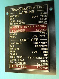 SNJ Check Off List WWII Aircraft Collectible Data Plate Warbird NOS B30700-251