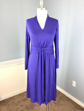 PURE Collection S 6 Blue Jersey knit A line flare dress long slv gathered waist