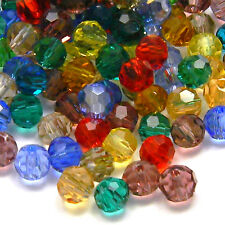 Lot of 100 Assorted 4mm Round Faceted Glass Beads in a Mix of Transparent Colors