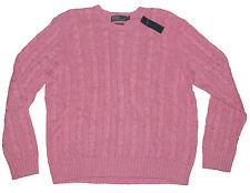$165 Polo Ralph Lauren Mens Silk Linen Cable Knit Crew Neck Ivy League Sweater