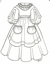 """china head Doll Dress sewing Pattern 21-22"""" Victorian German French 565"""