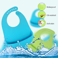 2xCute Baby Care Soft Silicone Bibs Feeding Bib Kids Roll up Food Catcher Pocket