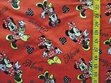 DISNEY MINNIE MOUSE LOVES SHOPPING 100% COTTON FLANNEL FABRIC BY THE 1/2  YARD