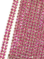 12 YDS PRECIOSA 2 Row Fuchsia Hot Pink Rhinestone Ribbon Banding Trim Decoration
