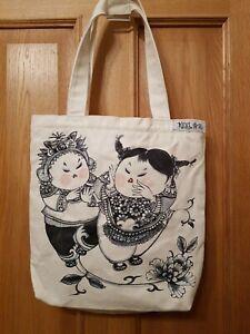 Retro Denim Cloth Bag Oriental Cartoon Design